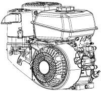 Motor mit waagerechter Kurbelwelle