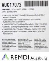JOHN DEERE Wartungskit für Kundendienst AUC17072 (LG257)  X540